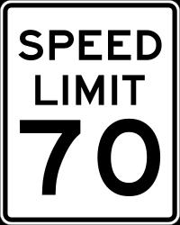 70 MPH sign