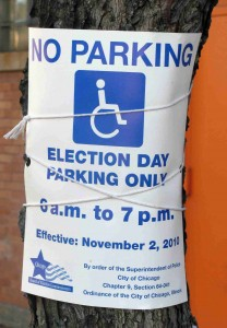 Election Day No Parking Sign
