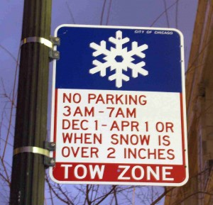 Chicago Winter Overnight Parking Ban Sign