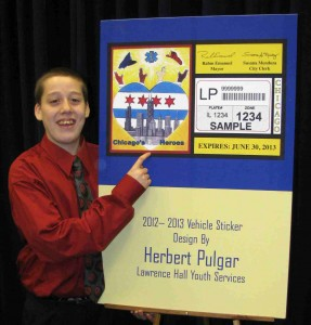 Herbert Pulgar and his controversial city sticker artwork back in 2012.