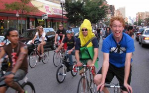 "Bikers ""Mass"" up traffic in Wicker Park"