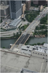 Aerial view of the Congress Parkway Bridge