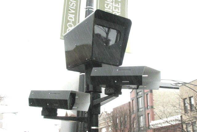 A red light cameras stands watch at Damen & Division in Wicker Park
