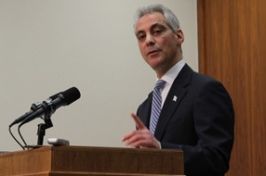Mayor Rahm Emanuel announces changes to the parking meter lease deal at a press conference Monday.