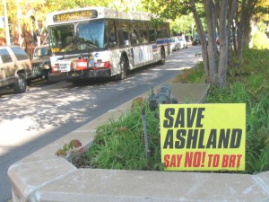 A sign in the median on Ashland Avenue pushes the anti-BRT messsage near Cortland.