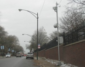 A recently installed speed camera in the 1100 block of W. Irving Park.