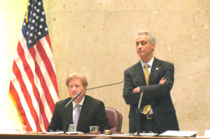 Corporation Counsel Stephen Patton and Mayor Rahm Emanuel listen to aldermen debate the renegotiated parking meter lease deal this past spring.