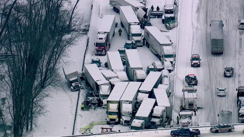 A pileup on I-94 included 12 semi trucks. Photo: ABC 7 Twitter feed.