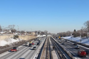 The Kennedy Expressway looking westbound at Canfield Avenue. Photo credit: Heather Cherone/DNA Info.
