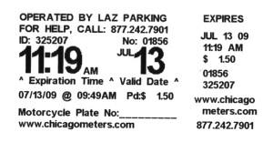 Parking meter receipt