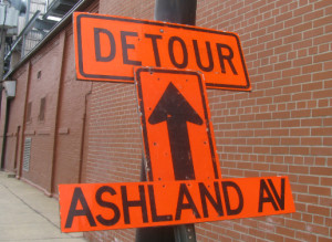 A sign on Elston Avenue detours drivers around the closed portion of Ashland Avenue this weekend.