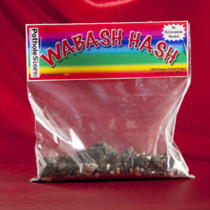 """Wabash Hash"" is just one of several varieties of pot themed baggies of city asphalt being sold by The Pothole Store. Photo credit: The Pothole Store."