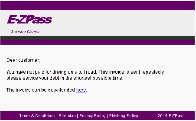 Some internet users are receiving fake e-mail messages allegedly from E-Z PASS  looking for unpaid tolls.
