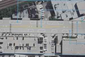 Milwaukee Avenue bike lanes graphic