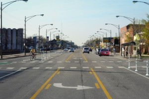 A photo mockup of what the proposed protected bike lanes on Milwaukee Avenue would have looked like. Photo credit: CDOT
