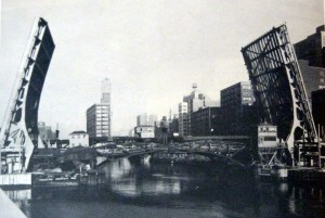 A historical photo of the Van Buren  Bridge from when it was first constructed in 1955. Photo credit: Chicago Public Works report from 1855.