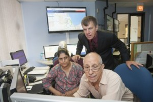 John Dillenburg, senior research scientist in computer science, with systems specialists Sri Poodipeddi and Anjum Malik. Photo credit: Roberta Dupuis-Devlin/UIC Photo Services