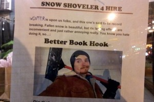 Paul Hook is promoting his car shoveling services with posters around the Ukranian Village neighborhood. Photo credit: Alisa Hauser/DNA Info.