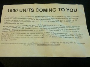 Save Our Boulevards' flier warning Logan Square residents of parking challenges from a proposed 1,500 unit development.