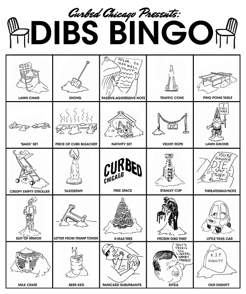 Curbed Chicago published this fun dibs bingo card for drivers to play all winter long. Image copyright and courtesy Curbed Chicago.