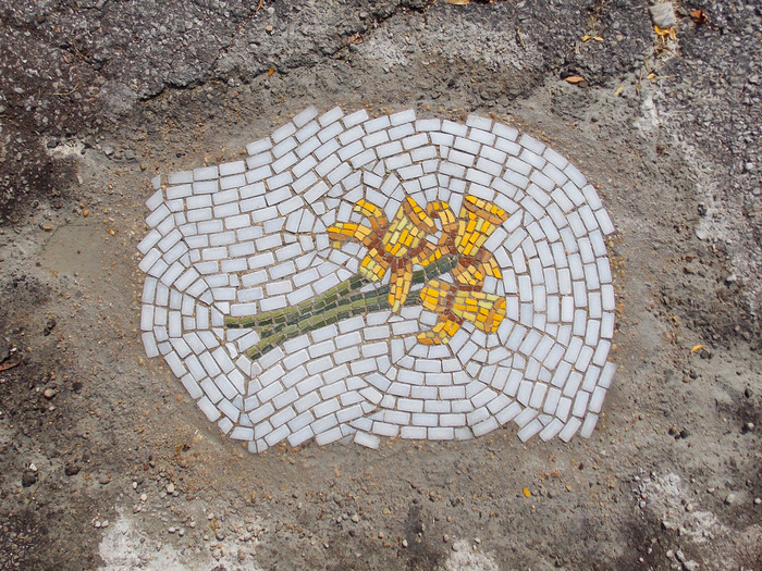 """Daffodil"" a pothole mosaic by Jim Bachor--in the 100 block of N. Ada."