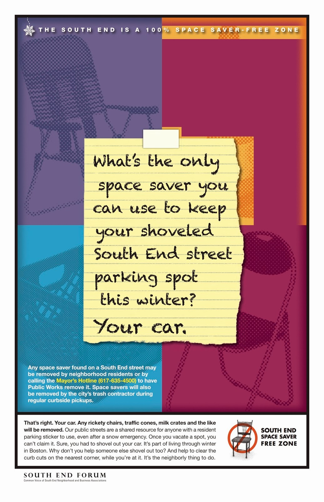 A poster discourages the practice of using space savers to save a parking spot in the winter in a Boston neighborhood.