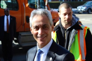 Mayor Rahm Emanuel with pothole repair crews in 2014. Photo credit: Ted Cox/DNA Info.