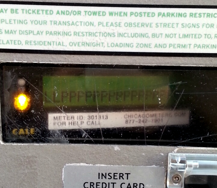 A parking meter paybox in Bucktown malfunctions.
