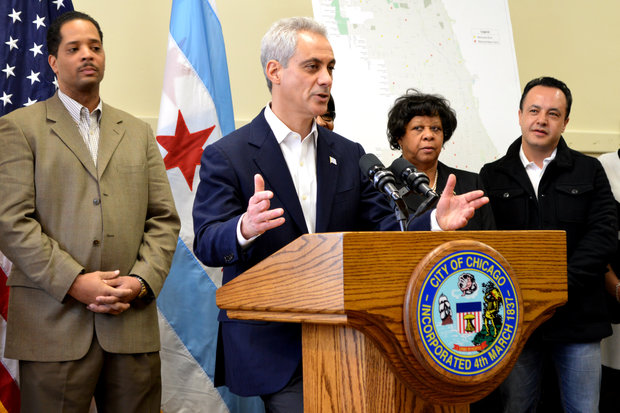 Mayor Rahm Emanuel announces he plans to remove 50 red light cameras at 25 intersections across the city in a press conference Sunday. Photo credit: Linze Rice/DNA Info.