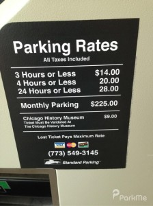 Rates at downtown parking garages can be very expensive. Photo courtesy of ParkMe.