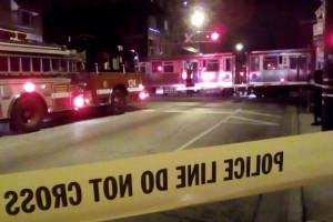 Kedzie Ave. in Albany Park was closed at the CTA Brown Line tracks due to a fatal train vs. pedestrian accident. Photo credit: The Expired Meter.com