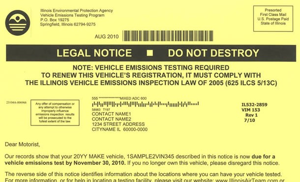 Illinois EPA emissions notice